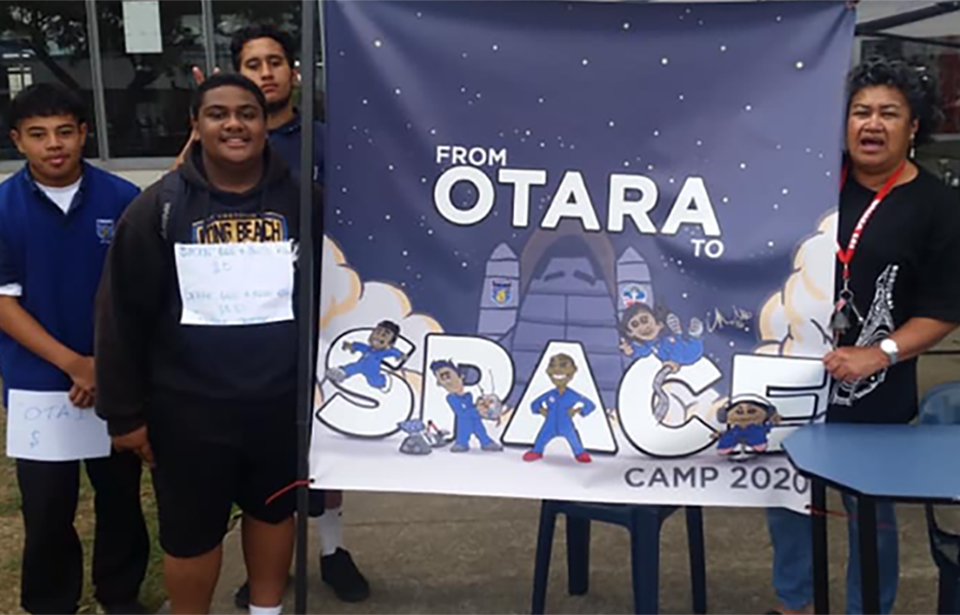 Friends and family front a fundraiser for the Otara Space Troopers. Photo: supplied