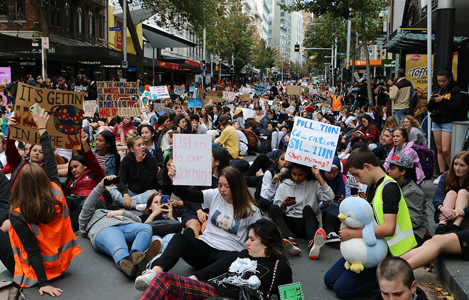 Friday's School Strike 4 Climate protests on Queen St, Auckland.