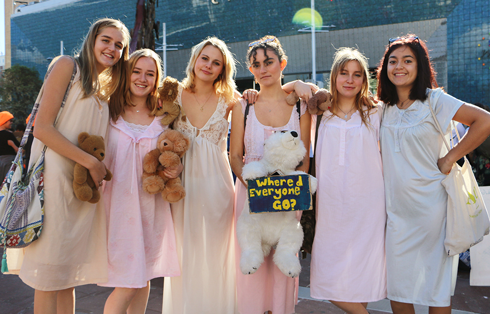From left: Amy Morrin, Grace Thevenard, Hattie Salmon, Sienna Davidson, Niamh Maher and Sian Azariah, all 17, ask the Government to 'wake up' and take more action on climate change.
