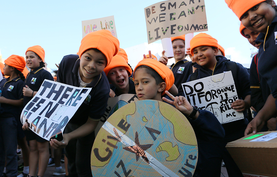 Students from Waikowhai Primary School in Mt Roskill, one of the first groups to arrive at Aotea Square accompanied by their teacher, joined in on the protest.